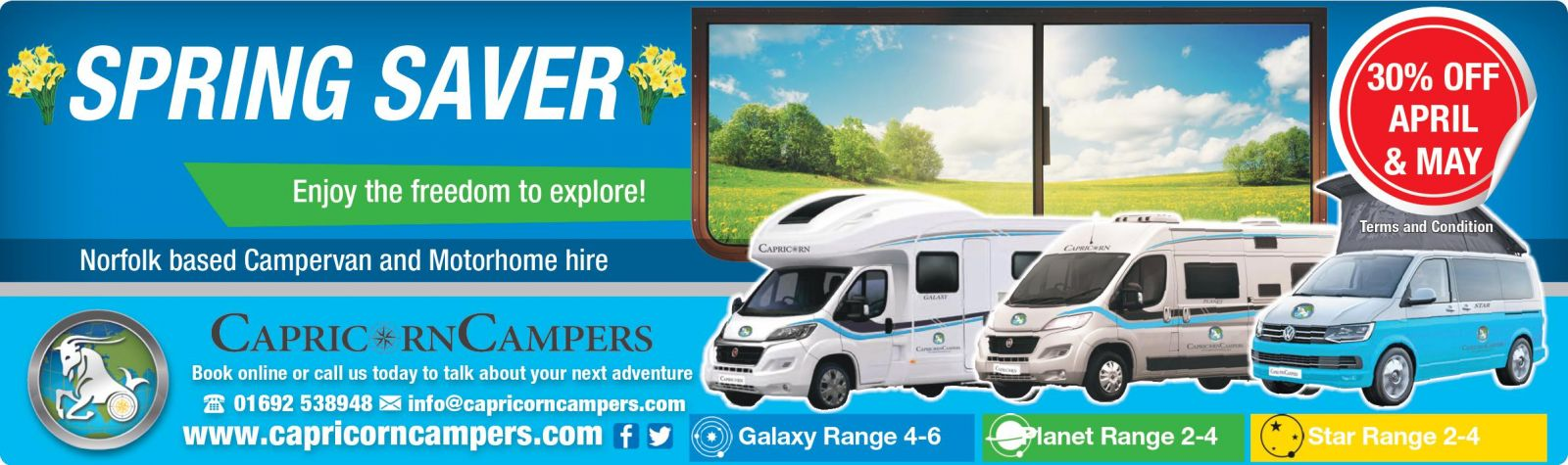 Advert offering discount off motorhome hire