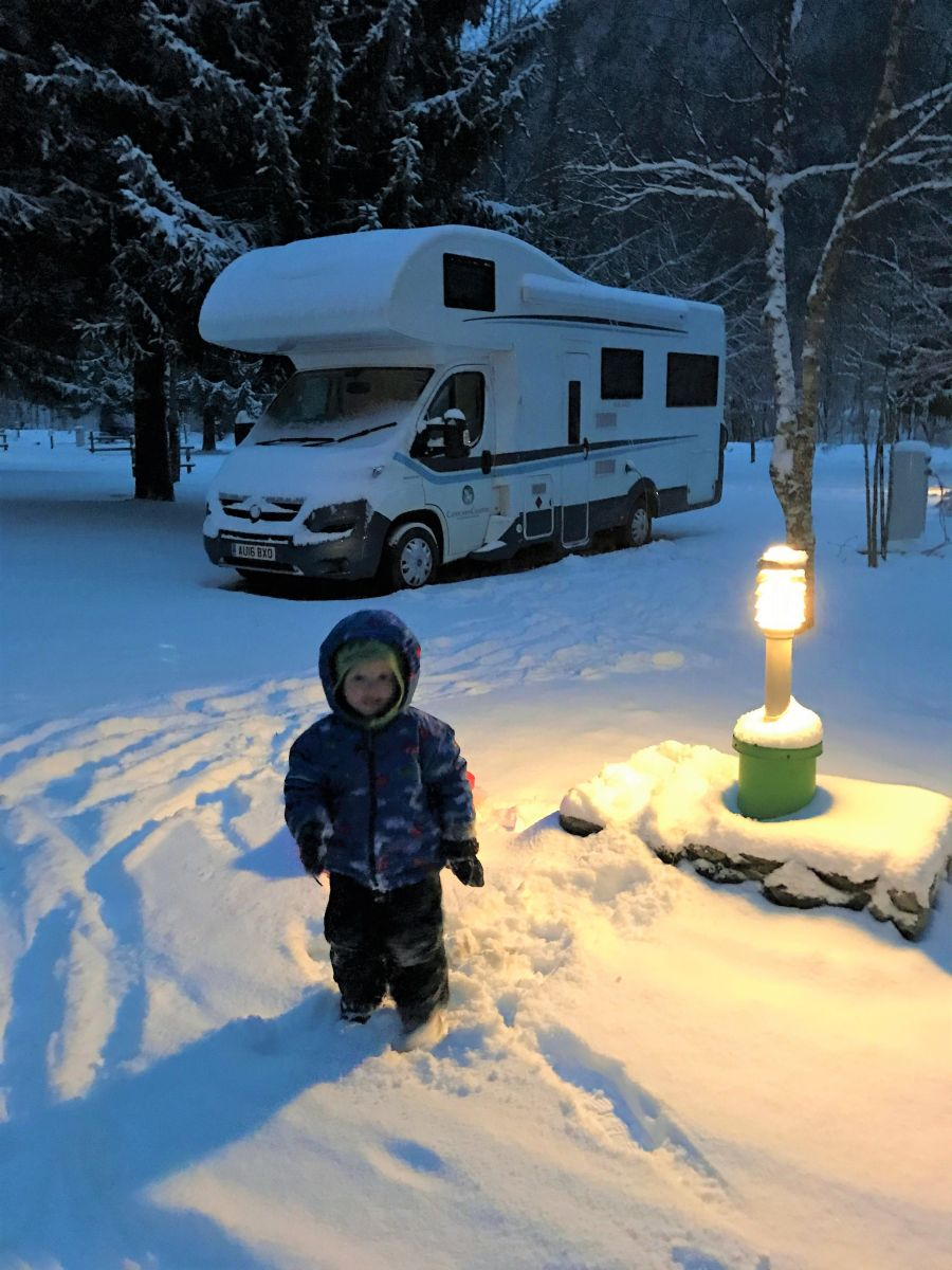 Motorhome  parked in snow